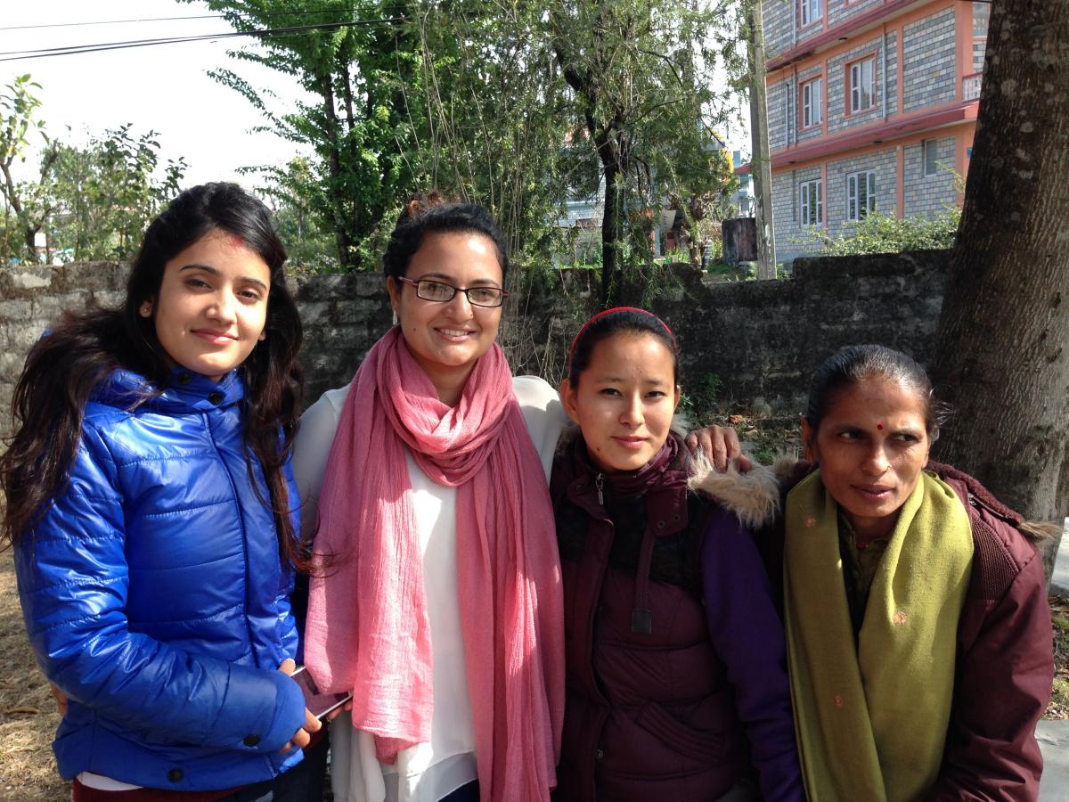 Aradhana Thapa (MPH '15) with clinic staff in Nepal.