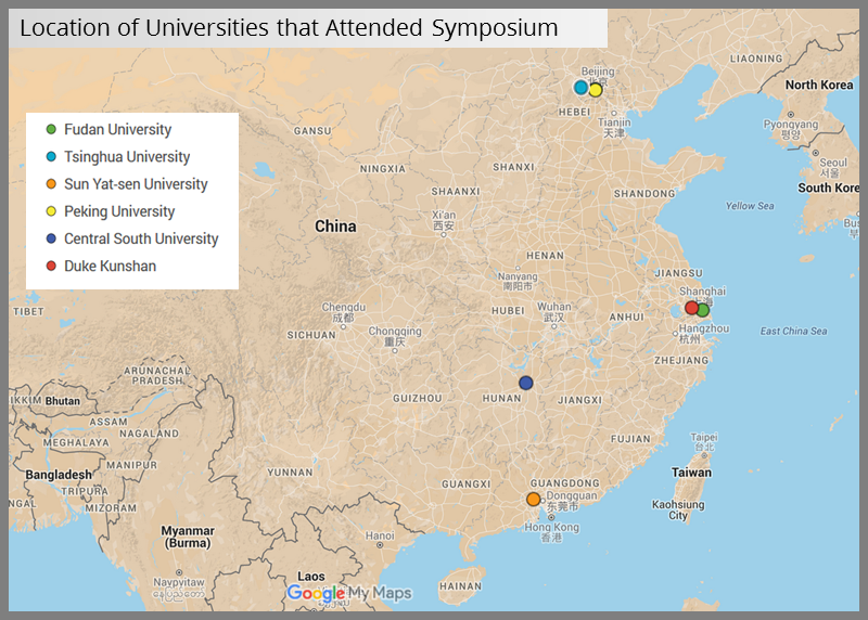 Map of Chinese Universities attneding Symposium